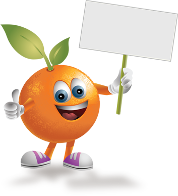 Image of a cartoon orange named Andy holding a sign